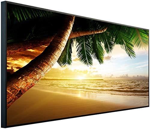 InfrarotPro | Infrarotheizung 750 Watt | Bildheizung 120x60x3 cm | Made in Germany | Geprüfte Technik | Ultra-HD Auflösung | (Palme bei Sonnenuntergang)