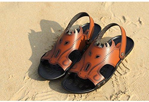 LXXAMens Estate Spiaggia Maschio Slipper Cuoio Reali Sandali Scarpe Da Trekking Due Usi Brown