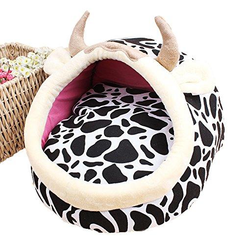 Hukangyu1231 Haustier Hundebett Herbst und Winter Modelle Cartoon Haustiere Tierform Hausschuhe Nest Cartoon Nest (Farbe : Mad Cow, Größe : L)