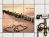 creatisto Bad-Sticker, Badezimmer-Fliesen   Fliesenaufkleber Folie Sticker Küche Bad Fliesenmuster Kellerfliesen   15x20 cm Design Motiv Beach Romance - 6 Stück