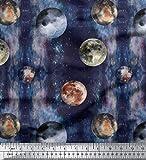 Soimoi Blau Baumwolle Batist Stoff Mond & Planeten Galaxis