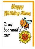 Geburtstagskarte für Mama–Blume und Biene–To My bee-autiful Mum