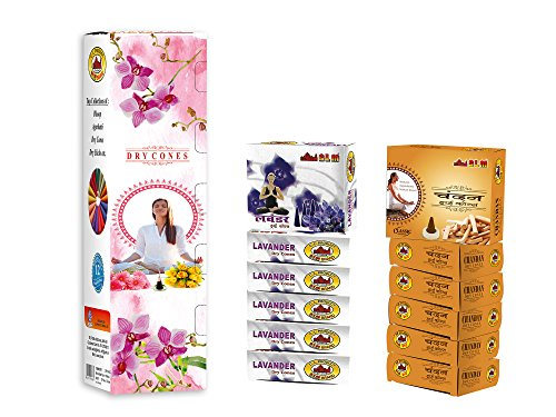 SLM MEDITATIONDRY CONE DHOOP WITH CHANDAN & LAVANDER FRAGRANCE (Content Each Fragrance 6 Packets,Each Pack 12 Dry Cone Dhoop ,Total 12 Packets,144Pcs Dry Cone Dhoop.)
