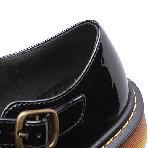 Smilun Chaussures Femme Mary Jane Boucle Basses Classic Bout Rond Noir