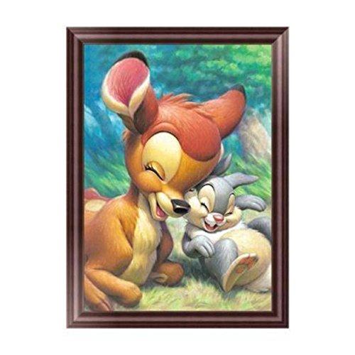 zhouba DIY Cute Deer Kaninchen 5D Diamant Stickerei Gemälde Kreuzstich Art Craft Decor Geschenk ohne Rahmen, multi, Einheitsgröße