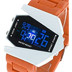 Facilla® LED Digital Quartz Wrist Watch Men Watch Sports Watch Silicone Ladies Orange