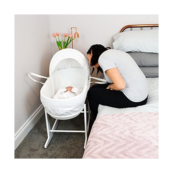 Shnuggle Moses Basket with White Waffle Cotton Dressing, Hood and Mattress - Pebble Grey Basket  Shnuggle Modern Moses Basket with stay up hood Hypoallergenic and easy to clean Super strong and long lasting 3