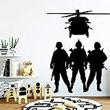 XCGZ Pegatinas De Pared Helicopter Soldier Fps Game Gamer Sticker Sala De Juegos Cool Boy Gamer Wall Sticker 57Cm × 75Cm