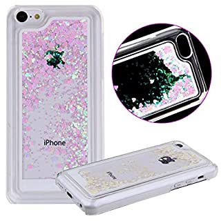 iPhone 5C Case, iPhone 5C Cover, AcenX(TM) 3D Creative Design Flowing Floating Liquid Small Love Hearts Bling Glitter Sparkly Stars Quicksand Hard Transparent Clear Crystal Back Case Cover for Apple iPhone 5C (Love Heart Pink)
