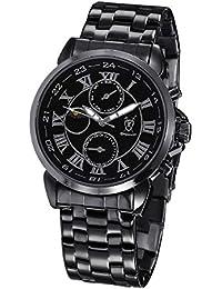 Reloj Negro de Hombre, con Pulsera Metálica, Esfera Negra con Números Romanos y Multi-función Día-Fecha Día-Noche de Konigswerk AQ202465G