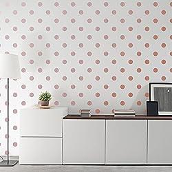 Pegatinas metálicas para pared de oro rosa (2,0 pulgadas x 200 pegatinas) adhesivos extraíbles para decoración de lunares
