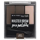 Maybelline Master Brow Pro Palette in Soft Brown, 3in1: formgebendes Wachs, Augenbrauenpuder und Highlighter, zum Formen, Füllen und Highlighten von Augenbrauen, mit doppelseitigem Applikator, 3,4 g