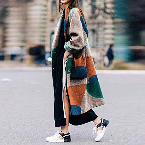 zysymx Giacca a Vento da Donna Autunno e Inverno Casual Warm Long Jacket Jacket Coat Elegante Stampa Vintage Femminile Windbreak