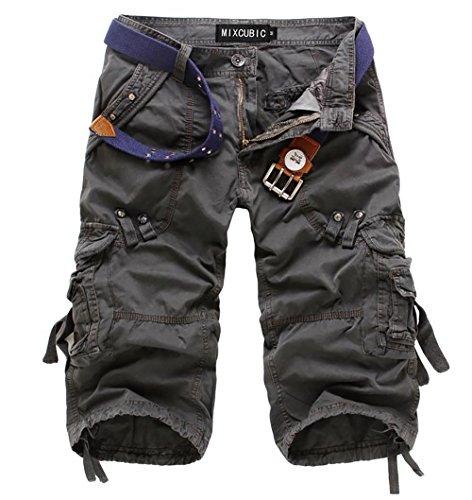 crazyplayer Herren Cargobermudas in 3/4-Länge Summer Shorts Cargoshorts für Männer mit Mehrere Tasche aus Reine Baumwolle in Grau Grün Rot
