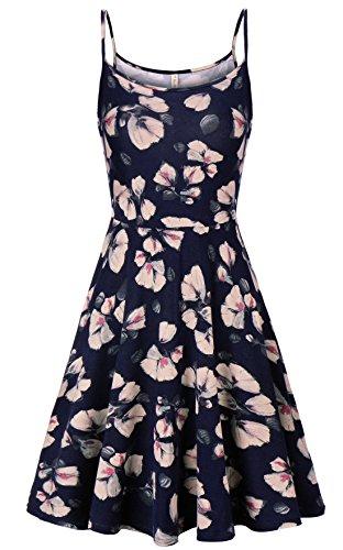 Kormei Damen Sommerkleid Ärmellos Knielang Kleid Strandkleid Blumenmuster Casual Partykleid Blau Blume XL