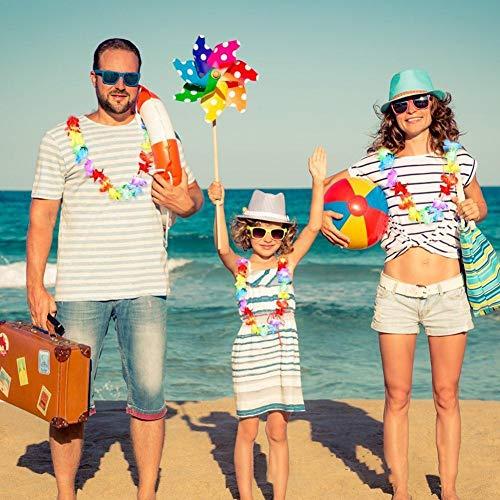 ÜCKE Hawaiian Style Garland Tropische Blume Stirnband Halskette Hawaii Seidenblume Lei Kränze Stirnbänder Urlaub Hochzeit Beach Party Dekorationen ()