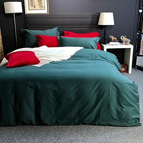 ACZZ Pure Color 100% Cotton Sanding Bettwäsche - Bettdecke, Bettbezug, Kissenbezug, Königin, Orange,Grün,König