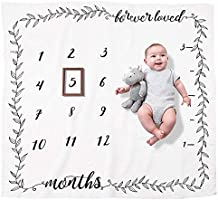 Organic Baby Monthly Milestone Blanket by HotsUAE | Girl or Boy Photography Background Prop | Newborn to 12 Months |...