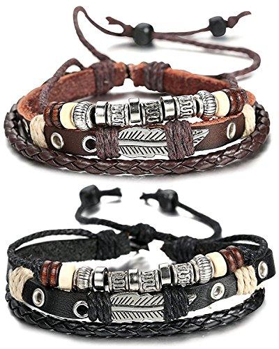 Sailimue Leder Charme Männer Armband für Herren Geflochtene Handwerklich Armkette Verstellbar 19-28CM
