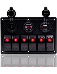 Fxc 6Gang Panneau Interrupteur à bascule avec double chargeur d'alimentation USB 12V-24V pour auto Marine Bateau Remorque (Rouge)