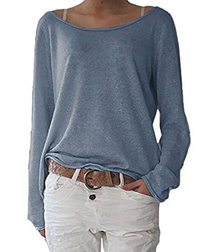 ZIOOER [New Arrival Design Damen Pulli Langarm T-Shirt Rundhals Ausschnitt Lose Bluse Hemd Pullover Oversize Sweatshirt Oberteil Tops Marine L
