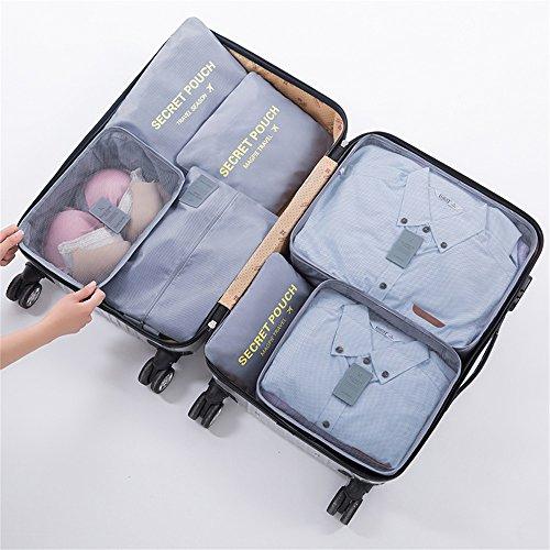 FunYoung Kleidertaschen-Set 7-teilig Reisetasche in Koffer Wäschebeutel Schuhbeutel Kosmetik Aufbewahrungstasche Farbwahl (Grau) Grau