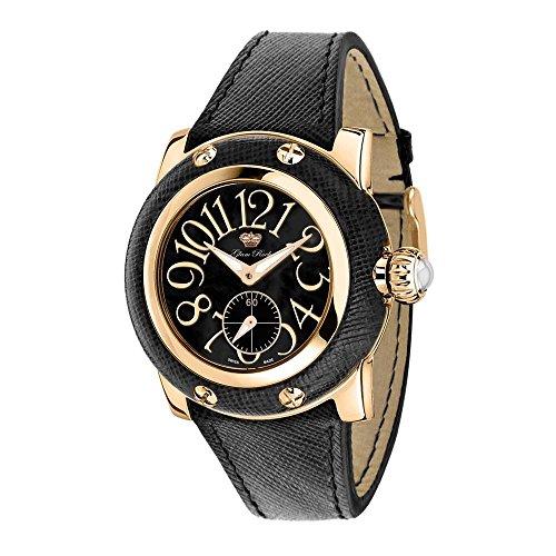 Glam Rock Women's Palm Beach 40mm Black Leather Band Rose Gold Plated Case Swiss Quartz Watch GR40046