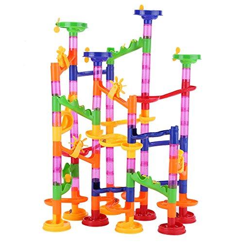 (Fdit Marmor Spielzeug Set DIY BAU Rennen Laufen Maze Balls Track Bausteine Pädagogisches Spielzeug für Baby Kind)