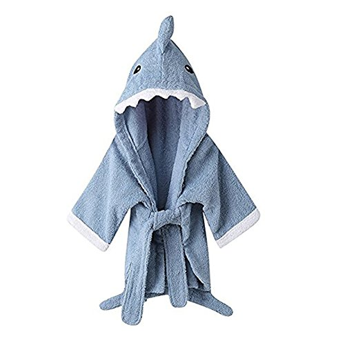 URAQT Cute Animal Baby Bathrobe Soft Hooded Towels Infant Wrap Blue Shark,M