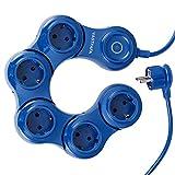 VASTFAFA Flexible 5-Fach Steckdosenleiste(Steckerleiste mit Kindersicherung,Schalter und 1.5 m Kabel),Mehrfachsteckdose mit überspannungsschutz und 5 Steckdose