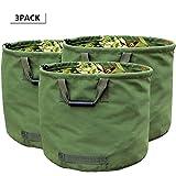 WHT 3-Stück 125L Gartenabfallsäcke für Schwere Aufgaben mit Griffen, Grüne Laubsack mit Militärischem Segeltuchgewebe (H45.7 cm, D55.8 cm)