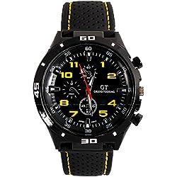 OrrOrr Men's Fashion Yellow Stainless Steel Luxury Sport Analog Quartz Wrist Watch