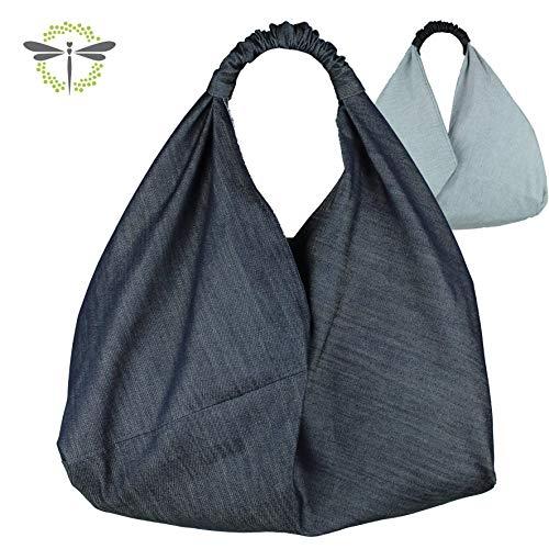 ORIGAMI-TASCHE Shopper Einkaufstasche Schultertasche - Jeans-Stoff -