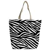 Violetpos Benutzerdefiniert Canvas Handtasche Einkaufstaschen Umhängetasche Schultasche Schwarz Weiß Streifen Zebra