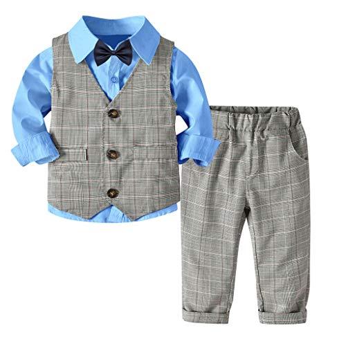 MRULIC Baby Junge Bowtie Gentleman Weste T-Shirt Hosen Hochzeit Anzug Tuch Sets(A-Blau,Höhe:110-120cm) (Baby Gangster Kostüm)