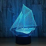 Novità Lampade Da Notte Per Barche A Vela 3D Lamparas Lampade Da Tavolo A Led Per Sedie Da Scrivania 7 Colori Che Cambiano Lampada Da Tavolo Per Bambini Con Luce Per Scrivania