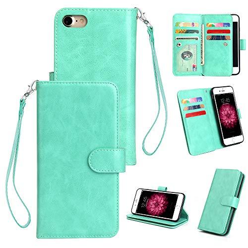 Yobby Groß Brieftasche Hülle [3 Layer] für iPhone 7,iPhone 8 Handyhülle Klassisch Flip Leder Tasche Abdeckung [9 Karte Schlüssel] mit Abnehmbar Handschlaufe und Stand-Minzgrün