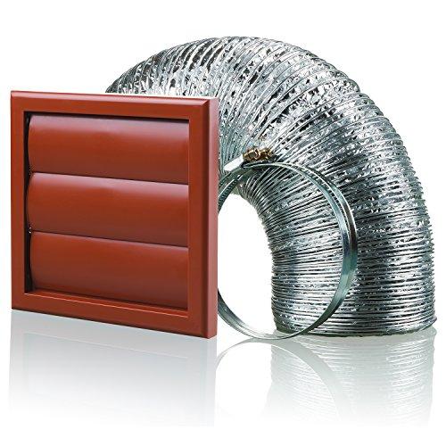 Aluminium-vent Pipe (Blauberg UK bb-chk-125–3-vjte 125mm Dunstabzugshaube Duct Shutter Vent Kit Fan Extractor–Terracotta)