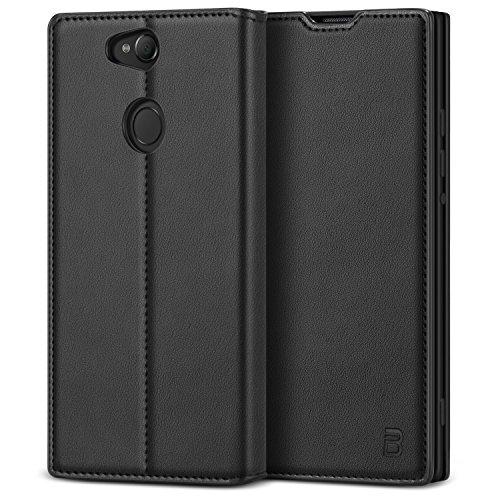 BEZ® Hülle für Sony Xperia XA2 Hülle, Handyhülle Kompatibel für Sony Xperia XA2 Tasche, Case Schutzhüllen aus Klappetui mit Kreditkartenhaltern, Ständer, Magnetverschluss, Schwarz