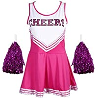 EnjoySports disfraz de animadora para mujer, disfraz, disfraz, disfraz, deportes, escuela secundaria, uniforme, fiesta de Halloween, disfraz, 5 colores, 6 tamaños, color rosa, tamaño extra-small