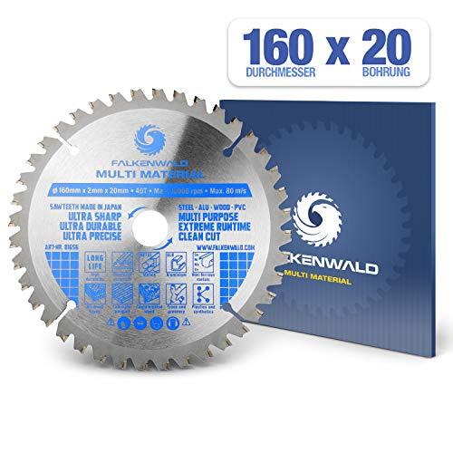 FALKENWALD ® Kreissägeblatt 160 x 20 mm - Ideal für Holz, Metall & Alu - Handkreissägeblatt kompatibel mit Tauchsäge & Kreissäge von Bosch & Makita - Universal Sägeblatt aus hochwertigem Hartmetall -