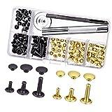 Lvcky - Juego de 60 Remaches de Doble Capa, Remaches tubulares de Metal con Kit de Herramientas de fijación para Reparaciones de Cuero, decoración, 3 tamaños