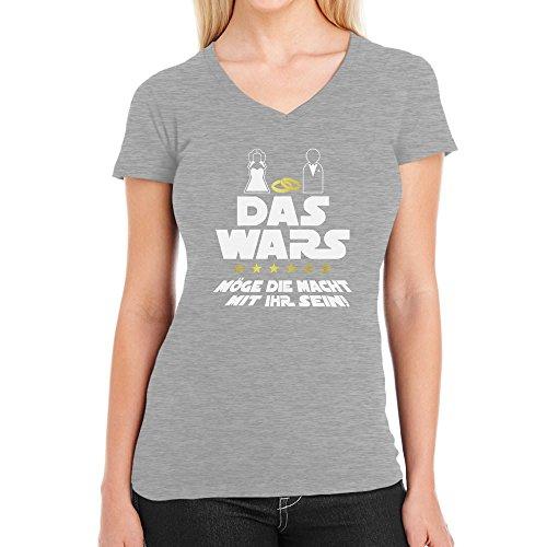 sellinnenabschied Party Das Wars mit Ihr Damen T-Shirt V-Ausschnitt Large Grau (Frauen Lustige Kostüme)