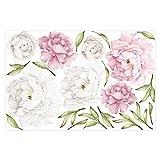 Bilderwelten Wandtattoo - Pfingstrosen Set Rosé Weiß, Größe: 60cm x 90cm