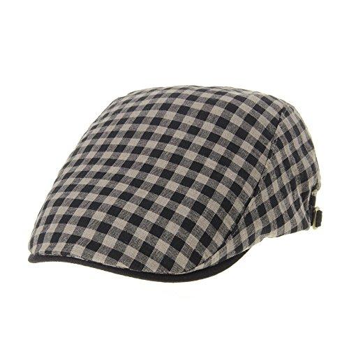 WITHMOONS Béret Casquette Chapeau Newsboy Flat Cap Plaid Gingham Check Cool Cotton Ivy Hat LD3596 Marron