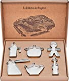 Alessi ACOOKIESET Progiotti Set di 6 Tagliabiscotti, per Biscotti, in Acciaio Inossidabile 18/10 Lucid