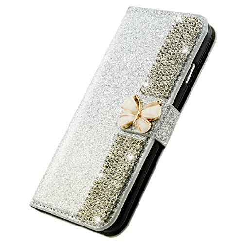 iPhone 8 Plus Hülle, Fraelc iPhone 7 Plus Weiche TPU Inner Tasche Bling 3D Schmetterling Magnetverschluss Glitzer Strass Diamant Lederhülle Flip Case mit Kartenfächer und Standfunktion Schutzhülle für Silber