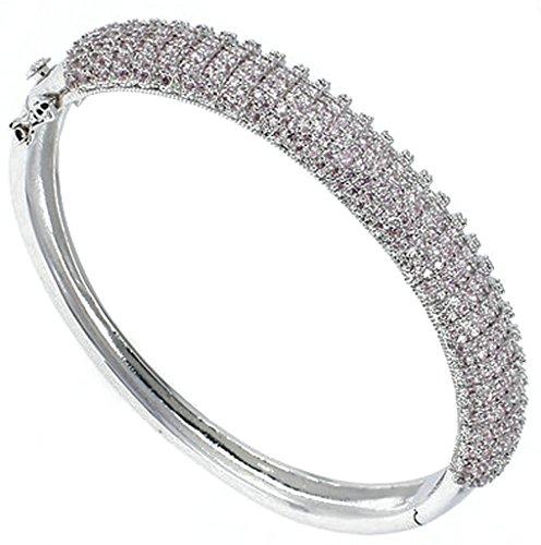 AnaZoz Bijoux Série Haute de Gamme Femme Bracelet luxueux Élégant Plaqué Argent Gourmette Cristal Blanc Rose Noir Noël valentin Rose