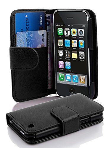 Cadorabo - Book Style Wallet Design for Apple iPhone 3 / 3G / 3GS with 2 Card Slots and Money Pouch - Etui Case Cover Protection in OXID-BLACK