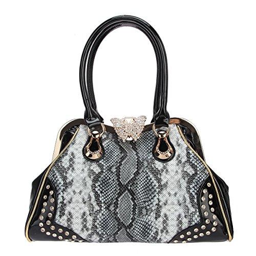Bonjanvye Butterfly Snake Pattern Crystal Shoulder Handbags with Lots of Pockets Tote Bag Gray